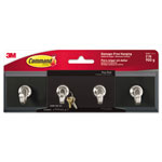 Command® Decorative Key Rail, 8w x 1 1/2d x 2 1/8h, Black/Silver, 4 Hooks/Pack