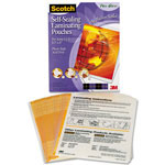 3M Self Sealing Matte Laminating Pouches for 8 1/2 x 11 Sheets, 9.6 mil., 25/Pack