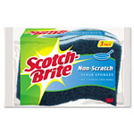 "3M Non-Scratch Multi-Purpose Scrub Sponge, 4 2/5 x 2 3/5"", Blue, 3/Pack"
