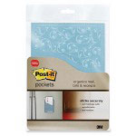"Post-it® Pockets, Tear-Resistant, 5-1/2""x8"", 2PK, Blue/Pink"