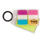 Post-it® Mobile Attach and Go Key Chain Dispenser, 24 1 x 1/2 Tabs, 24 2 x 1/2 Notes