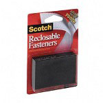 "3M Reclosable Fasteners, 2""x3"", 3 Sets/Pack, Black"
