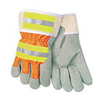 MCR Safety Luminator Reflective Gloves, Economy Grade Leather, Gray-Orange-Yellow, LG, 12PR