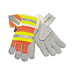 MCR Safety Luminator Reflective Gloves, Orange HiVis Stripe, Lime/Silver, X-Large, Dozen