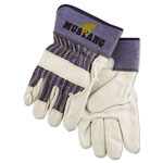 MCR Safety Mustang Leather Palm Gloves, Blue/Gray, Extra Large