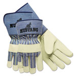 MCR Safety Mustang Premium Grain-Leather Gloves, 4 1/2 in. Gauntlet Cuff, Large