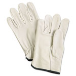 MCR Safety Unlined Pigskin Driver Gloves, Cream, Medium, 12 Pairs