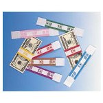 PM Company Self Adhesive White/Violet Currency Bands, $2000 Value, 1000 Bands per Pack