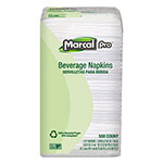 Marcal Beverage Napkins, White, 1 Ply, Case of 4000