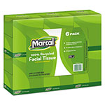 Marcal White 2-Ply 65% Recycled Facial Tissue, Pack of 6