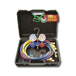 "Mastercool Dual 134a / R12 Aluminum Gauge Set w/60"" Goodyear Hoses and Manual Couplers"