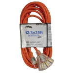 Mountain 12/3 25' Tri-Tap Extension Cord with Clear Plug