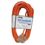 Mountain 12/3 50' Tri Tap Extension Cord with Clear Plug