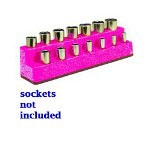 "Mechanics Time Saver 3/8"" Drive 14 Hole Hot Pink Impact Socket Holder"