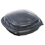 Mullinix Breakaway Hinged Poly Food Containers, Black/Clear, 64.2oz, 10x10x2.5,148/Crtn