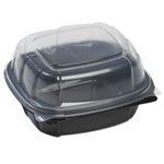 Mullinix Breakaway Hinged Poly Food Containers, Black/Clear, 21.9oz, 6x6x3, 171/Crtn