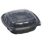 Mullinix Breakaway Hinged Poly Food Containers, Black/Clear, 38.9 oz, 8x8x2 1/2,138/Crtn