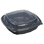 Mullinix Breakaway Hinged Poly Food Containers, Black/Clear, 50.7 oz, 9 x 9 x 3,112/Crtn