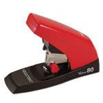 Max USA Vaimo 80 Heavy-Duty Flat-Clinch Stapler, 80-Sheet Capacity, Red/Brown