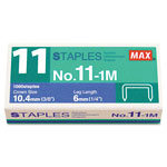 "Max USA No. 11 Mini Staples for HD-11FLK, 1/4"" Leg, 3/8""Crown Flat Clinch, 1,000/Box"