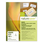 "Nature Saver Bright White Laser/Inkjet Full Sheet of Labels, 8 1/2"" x 11"""