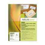 "Nature Saver Bright White Laser/Inkjet Shipping Labels, 3 1/3"" x 4"""