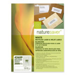 "Nature Saver White Laser/Inkjet Return Address Labels, 1/2"" x 1 3/4"""