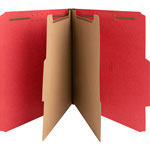 Nature Saver Classification Folders, w/ Fasteners, 2 Dividers, Letter, 10/Box, Bright Red