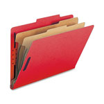 Nature Saver Classification Folders, w/ Fasteners, 2 Dividers, Legal, 10/Box, Bright Red