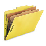 Nature Saver Classification Folders, w/ Fasteners, 2 Dividers, Legal, 10/Box, Yellow