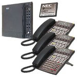 NEC DSX40 and IntraMail and Three 34 Button Telephones, Black