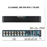 Night Owl 16 Channel Extreme HD 3MP DVR with 1 TB Hard Drive, 1080p Resolution