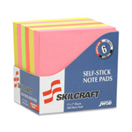 "SkilCraft Self-Stick Note Pad, 3"" x 5"", Plain, 100 Sheets, 6/PK, Ast"