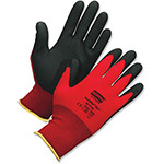 North Safety Products Safety Glove, Foamed PVC, Palm Coated, Large, Nylon, Red
