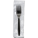 Netchoice Medium Weight Polystyrene Black Fork Individually Wrapped, Case of 1000
