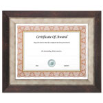 Nudell Plastics Executive Series Document and Photo Frame, 8 1/2 x 11, Mahogany/Pewter Frame