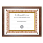 Nudell Plastics Award A Plaque Document Holder, 10 1/2 x 13, Walnut