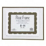 Nudell Plastics Floating Certificate of Award/Document Plastic Frame, 11 x 14, Gold