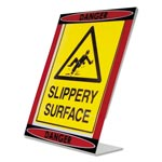 Nudell Plastics Themed Danger L-Shaped Sign Holder, Red/Black/Clear, 8 1/2 x 11