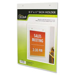 Nudell Plastics Clear Plastic Sign Holder, Wall Mount, 8 1/2 x 11
