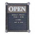 "Nudell Plastics Open/Closed Sign with Message Board, 12 3/4"" x 15 3/4"" BK/GD Strip"