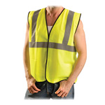 Occunomix Safety Vest, Small/Med, Silver Reflective Tape, Yellow