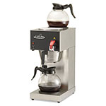 CoffeePro Two-Burner Institutional Coffee Maker, 12 Cup, Stainless Steel, 9 x 16 1/2 x 19