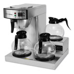 CoffeePro Three-Burner Low Profile Institutional Coffee Maker, Stainless Steel, 36 Cups