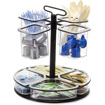 "Officemate Condiment Organizer, Rotary, 11"" x 12.8"", 8 Compartments, BK/CL"