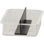 Officemate Replacement Virt Compartments, w/ Div, Shatter-Resist, Dishwasher Safe, CL/BK