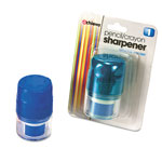 Officemate Twin Pencil/Crayon Sharpener with Cap, Assorted