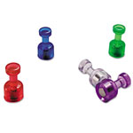 Officemate Push Pin Magnets, Assorted Translucent