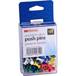 "Officemate Push Pins, Plastic, Assorted Colors, Head 1/2"" L"