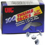 "Officemate Thumb Tacks, 1/2"" Point, 100/BX, Steel"